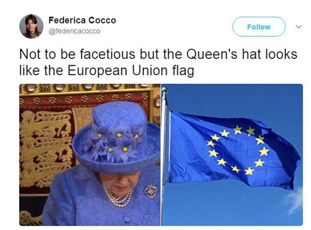 英女王演讲帽子引网民关注蓝底黄星似欧盟旗帜